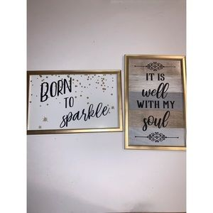 Set of two wall art in gold frame